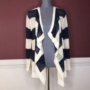 POL blue & white crochet knit cardigan size Small